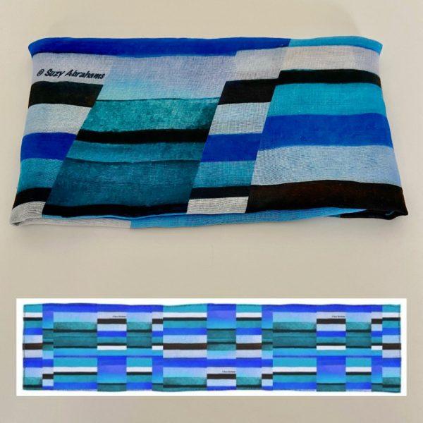 Stripes Blue Scarf design view