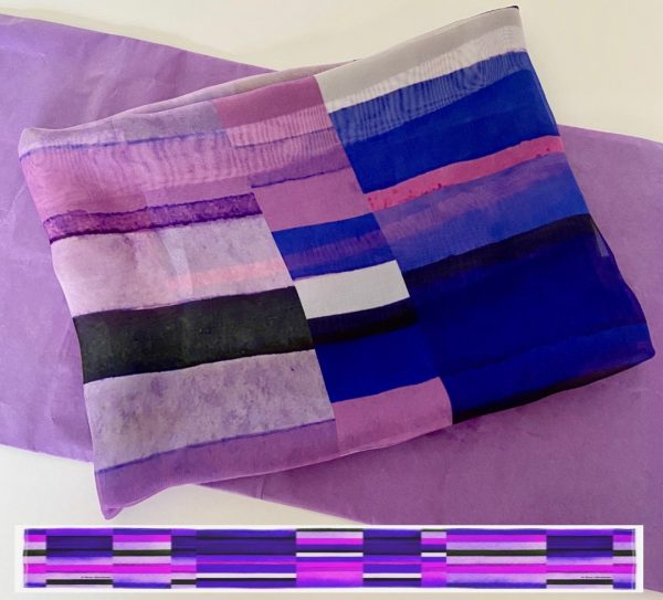 Stripes Purple Scarf Design View