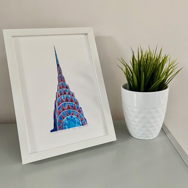 Chyrsler Building Print on shelf