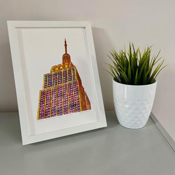 Empire State Building Print on shelf