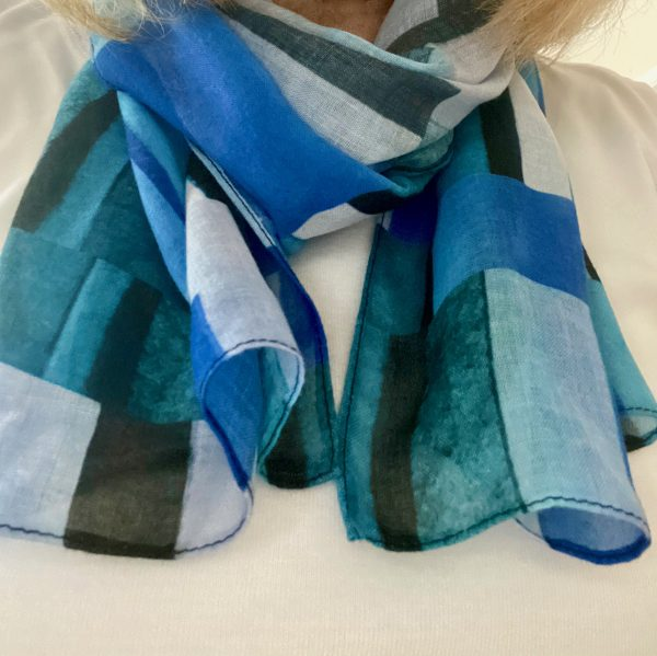 Wearing Stripes Blue Scarf