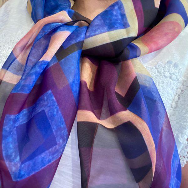 Wearing Homage III to Klimt Paris Chiffon Scarf